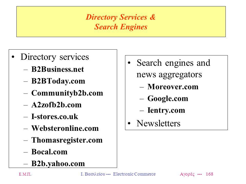 Ε.Μ.Π.Ι. Βασιλείου --- Electronic Commerce Αγορές --- 168 Directory Services & Search Engines Directory services –B2Business.net –B2BToday.com –Commun