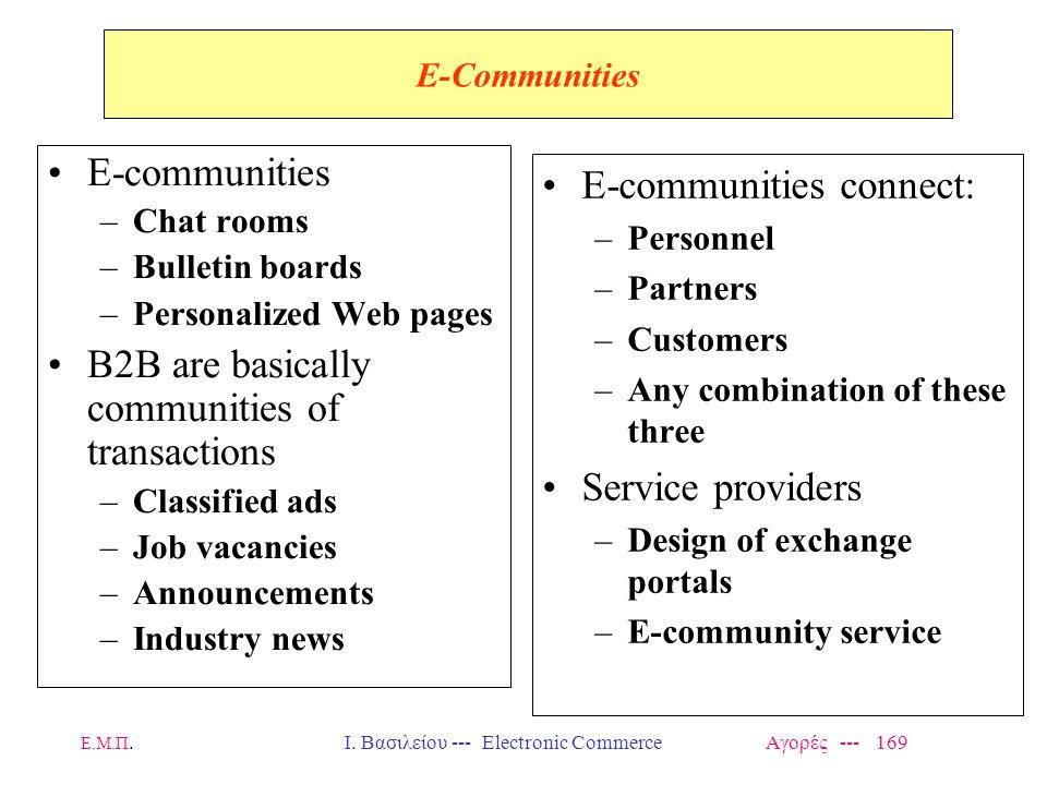 Ε.Μ.Π.Ι. Βασιλείου --- Electronic Commerce Αγορές --- 169 E-Communities E-communities –Chat rooms –Bulletin boards –Personalized Web pages B2B are bas