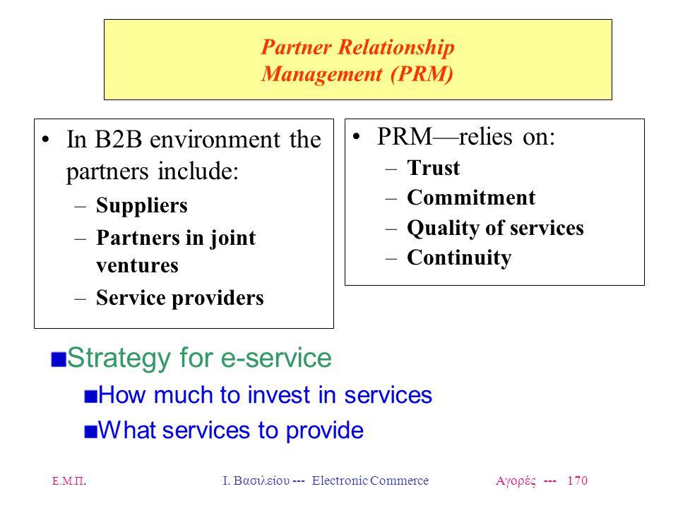 Ε.Μ.Π.Ι. Βασιλείου --- Electronic Commerce Αγορές --- 170 Partner Relationship Management (PRM) In B2B environment the partners include: –Suppliers –P