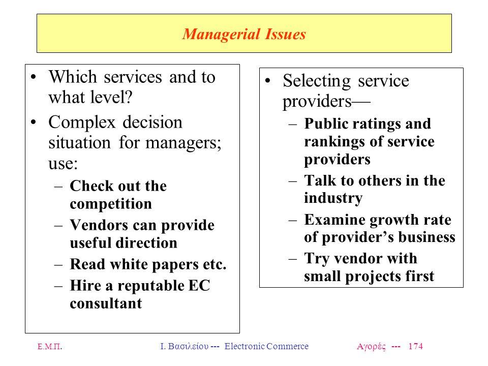 Ε.Μ.Π.Ι. Βασιλείου --- Electronic Commerce Αγορές --- 174 Managerial Issues Which services and to what level? Complex decision situation for managers;