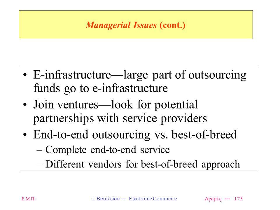 Ε.Μ.Π.Ι. Βασιλείου --- Electronic Commerce Αγορές --- 175 Managerial Issues (cont.) E-infrastructure—large part of outsourcing funds go to e-infrastru