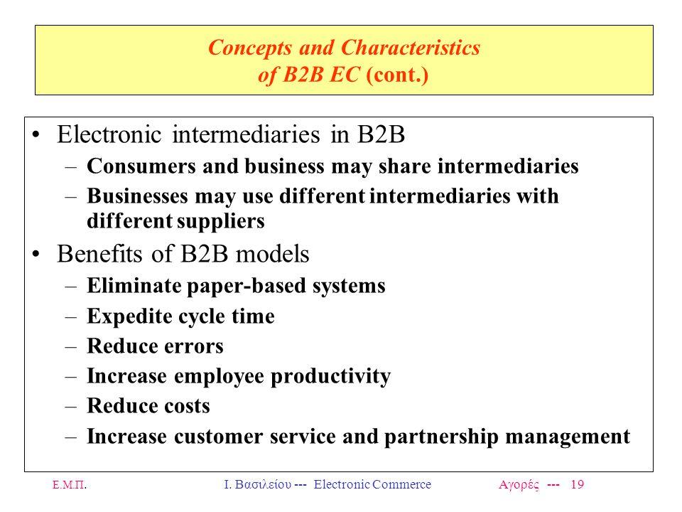 Ε.Μ.Π.Ι. Βασιλείου --- Electronic Commerce Αγορές --- 19 Concepts and Characteristics of B2B EC (cont.) Electronic intermediaries in B2B –Consumers an