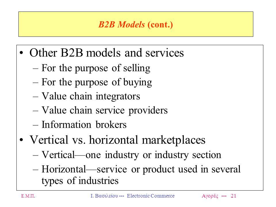 Ε.Μ.Π.Ι. Βασιλείου --- Electronic Commerce Αγορές --- 21 B2B Models (cont.) Other B2B models and services –For the purpose of selling –For the purpose