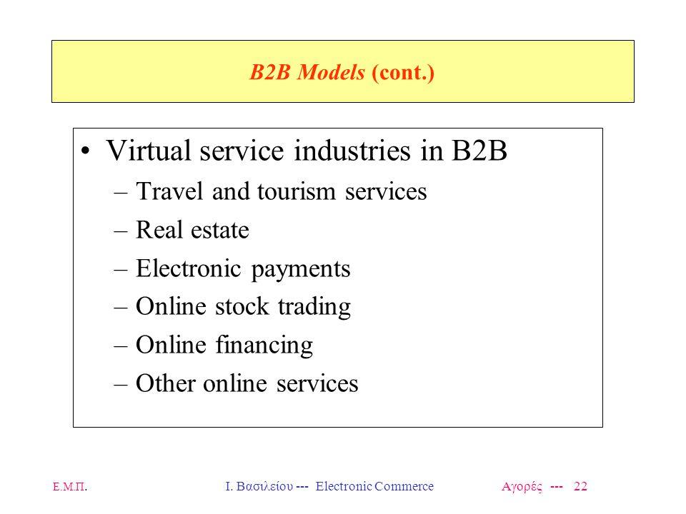 Ε.Μ.Π.Ι. Βασιλείου --- Electronic Commerce Αγορές --- 22 B2B Models (cont.) Virtual service industries in B2B –Travel and tourism services –Real estat