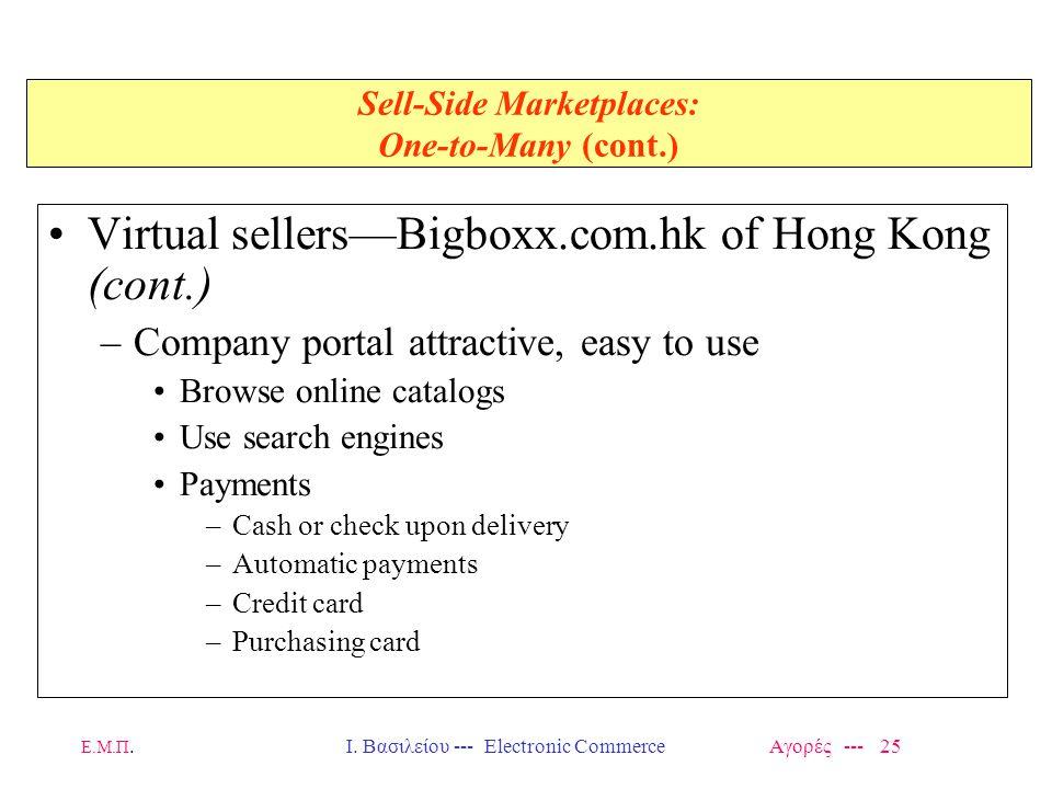 Ε.Μ.Π.Ι. Βασιλείου --- Electronic Commerce Αγορές --- 25 Sell-Side Marketplaces: One-to-Many (cont.) Virtual sellers—Bigboxx.com.hk of Hong Kong (cont