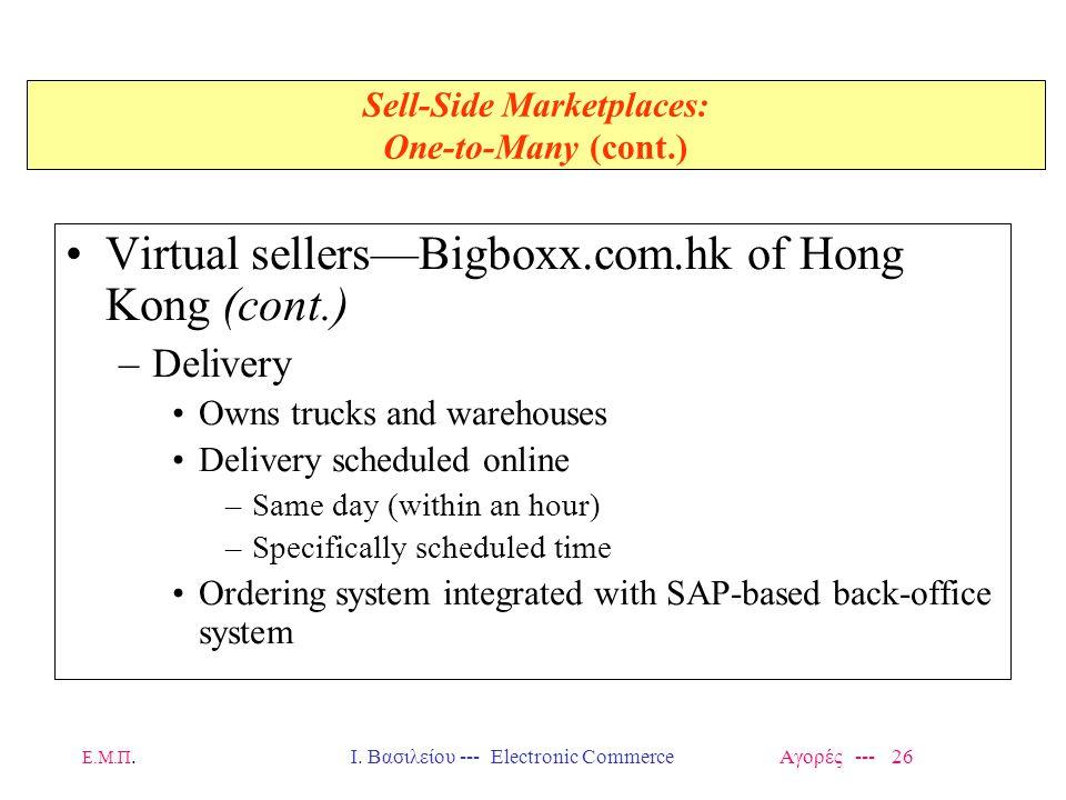 Ε.Μ.Π.Ι. Βασιλείου --- Electronic Commerce Αγορές --- 26 Sell-Side Marketplaces: One-to-Many (cont.) Virtual sellers—Bigboxx.com.hk of Hong Kong (cont
