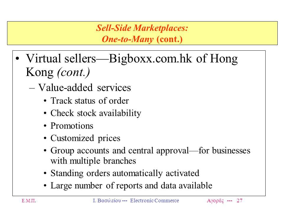 Ε.Μ.Π.Ι. Βασιλείου --- Electronic Commerce Αγορές --- 27 Sell-Side Marketplaces: One-to-Many (cont.) Virtual sellers—Bigboxx.com.hk of Hong Kong (cont
