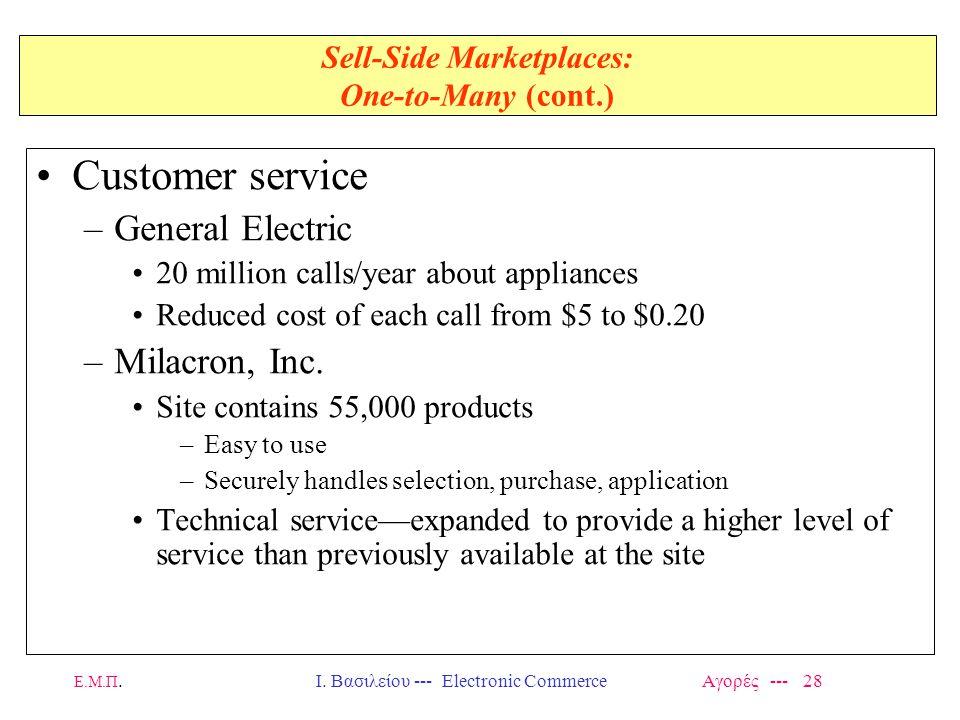 Ε.Μ.Π.Ι. Βασιλείου --- Electronic Commerce Αγορές --- 28 Sell-Side Marketplaces: One-to-Many (cont.) Customer service –General Electric 20 million cal