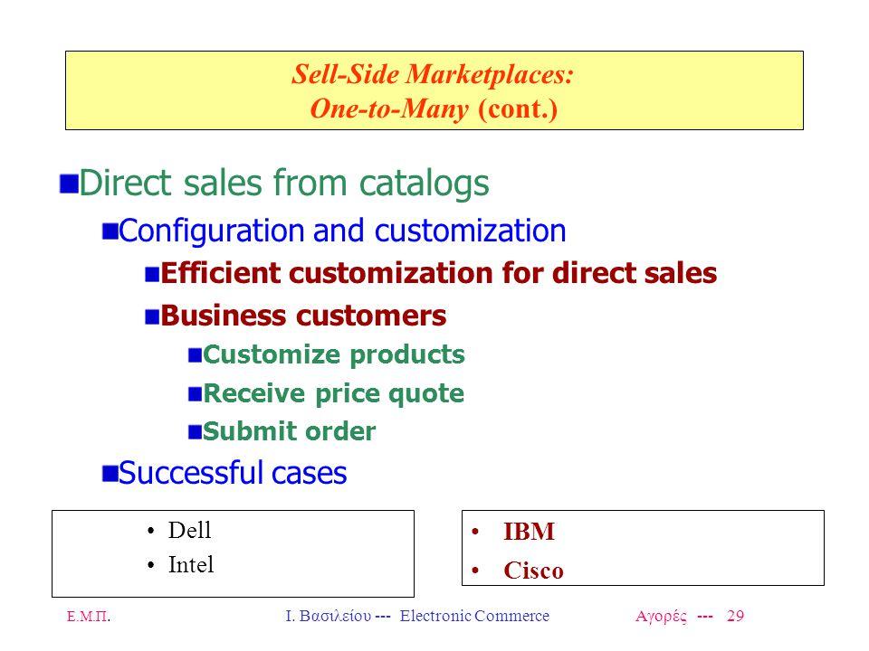 Ε.Μ.Π.Ι. Βασιλείου --- Electronic Commerce Αγορές --- 29 Sell-Side Marketplaces: One-to-Many (cont.) Dell Intel IBM Cisco Direct sales from catalogs C