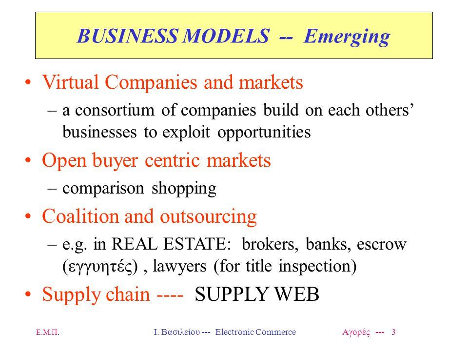 Ε.Μ.Π.Ι. Βασιλείου --- Electronic Commerce Αγορές --- 3 BUSINESS MODELS -- Emerging Virtual Companies and markets –a consortium of companies build on