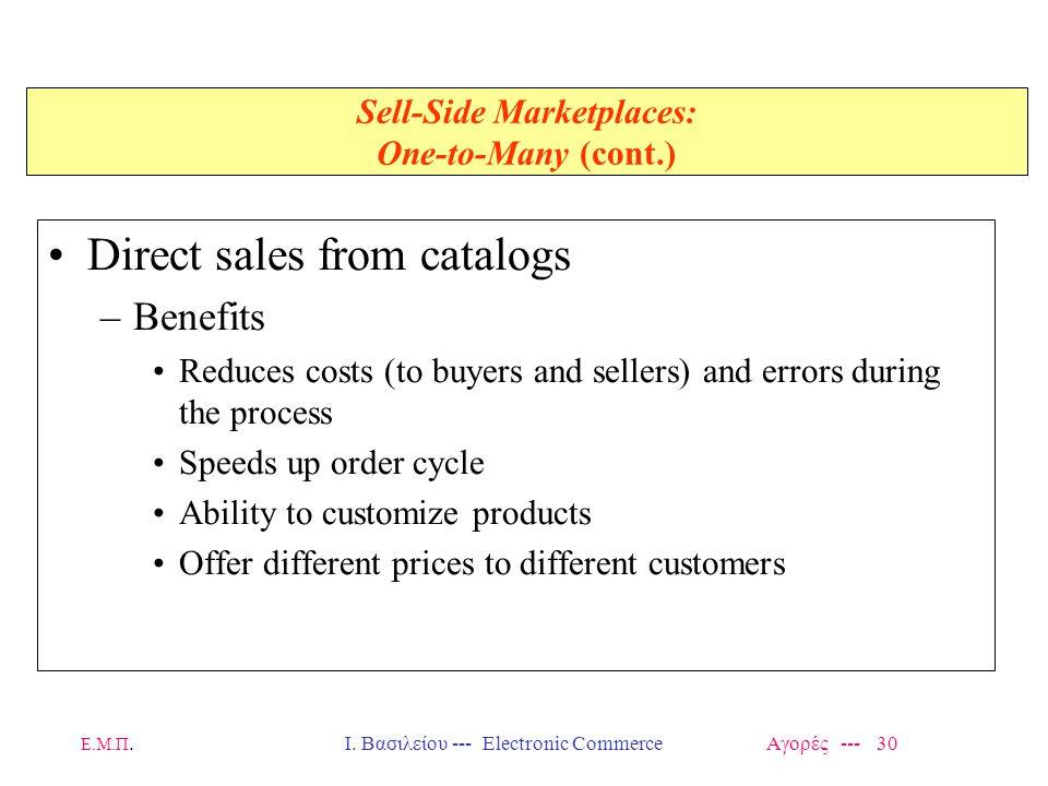 Ε.Μ.Π.Ι. Βασιλείου --- Electronic Commerce Αγορές --- 30 Sell-Side Marketplaces: One-to-Many (cont.) Direct sales from catalogs –Benefits Reduces cost