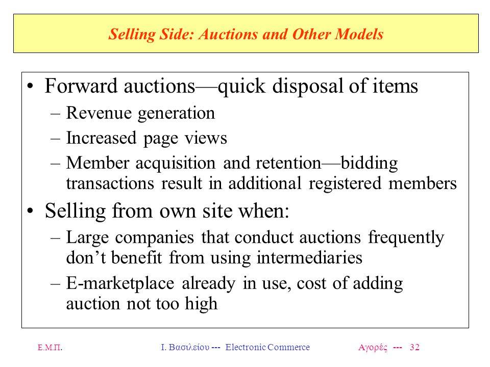 Ε.Μ.Π.Ι. Βασιλείου --- Electronic Commerce Αγορές --- 32 Selling Side: Auctions and Other Models Forward auctions—quick disposal of items –Revenue gen