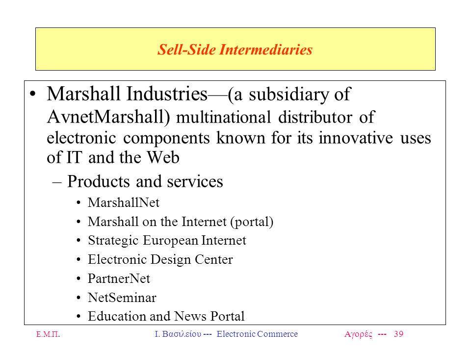Ε.Μ.Π.Ι. Βασιλείου --- Electronic Commerce Αγορές --- 39 Sell-Side Intermediaries Marshall Industries —(a subsidiary of AvnetMarshall) multinational d