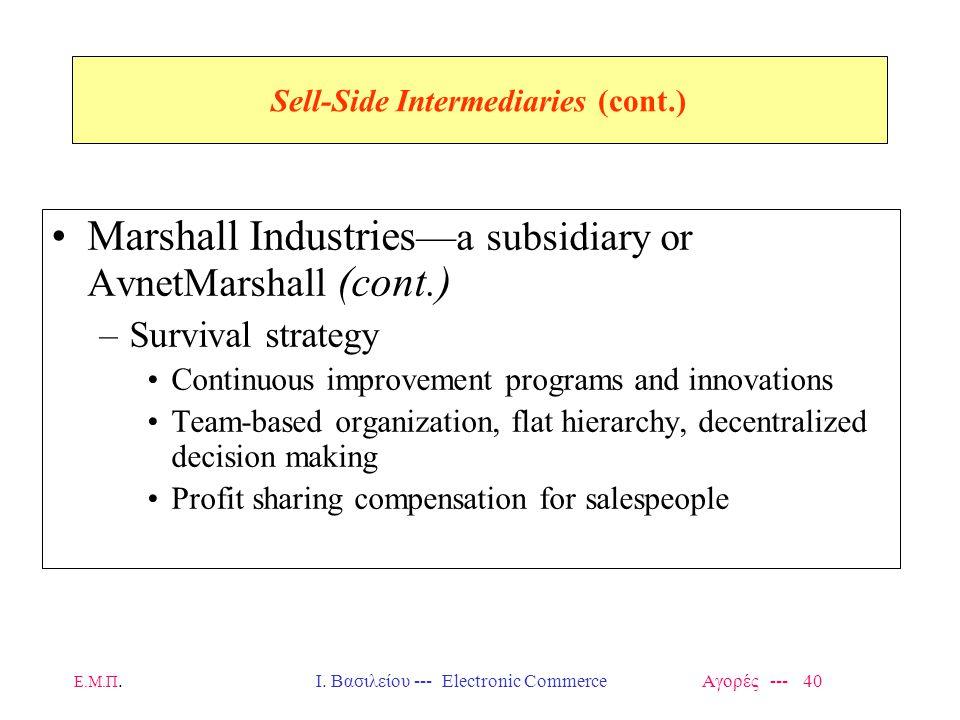 Ε.Μ.Π.Ι. Βασιλείου --- Electronic Commerce Αγορές --- 40 Sell-Side Intermediaries (cont.) Marshall Industries —a subsidiary or AvnetMarshall (cont.) –