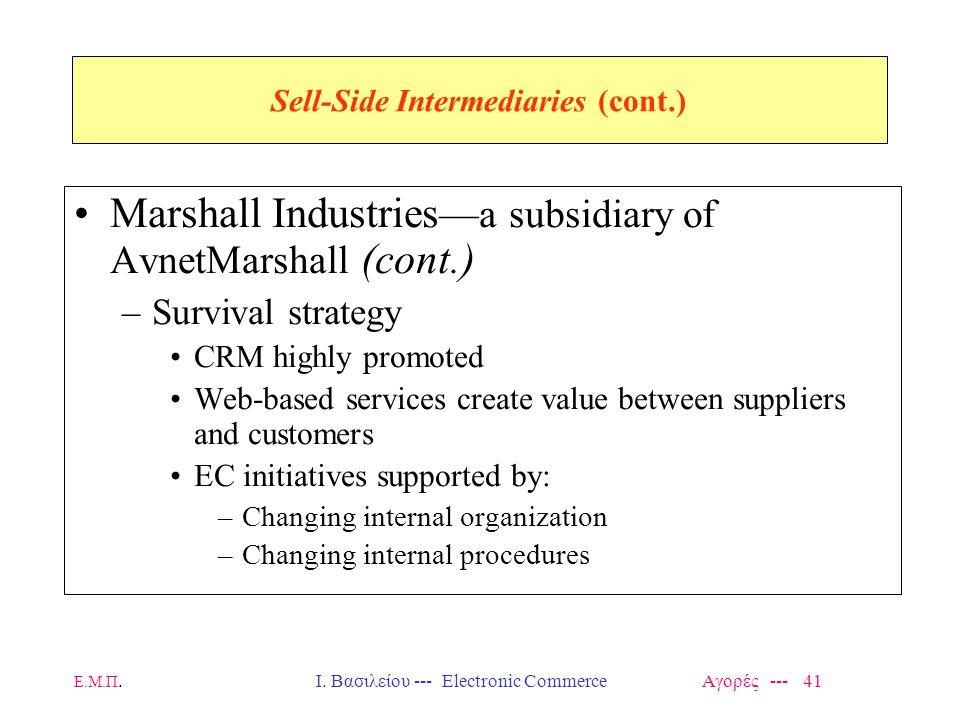 Ε.Μ.Π.Ι. Βασιλείου --- Electronic Commerce Αγορές --- 41 Sell-Side Intermediaries (cont.) Marshall Industries —a subsidiary of AvnetMarshall (cont.) –