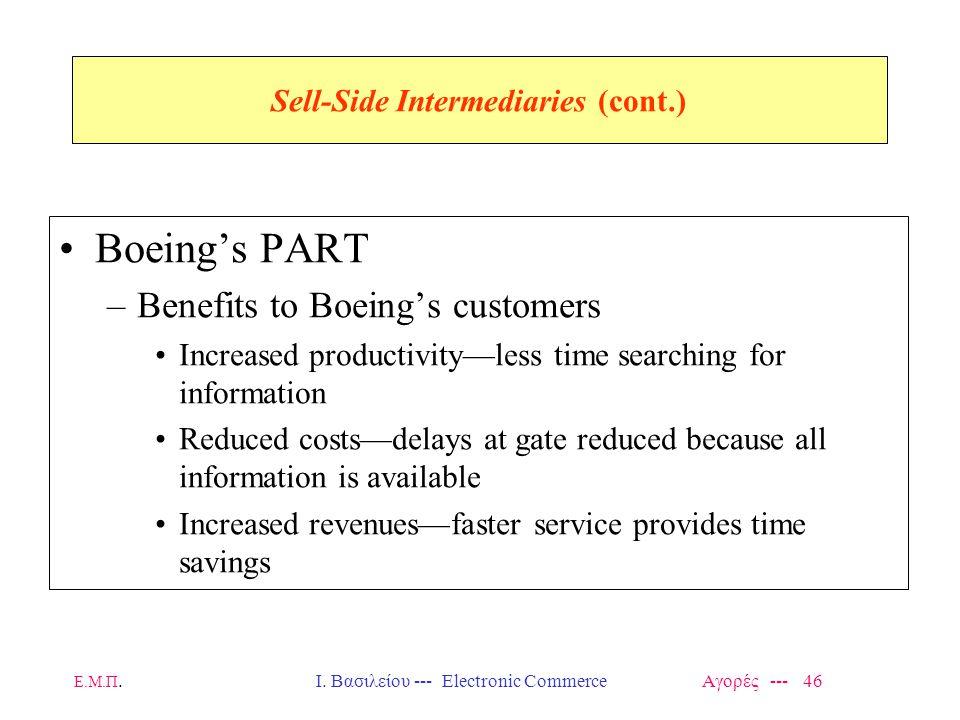 Ε.Μ.Π.Ι. Βασιλείου --- Electronic Commerce Αγορές --- 46 Sell-Side Intermediaries (cont.) Boeing's PART –Benefits to Boeing's customers Increased prod