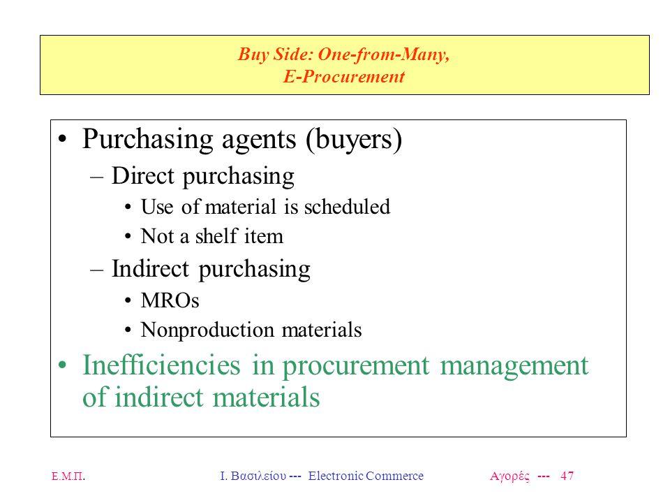 Ε.Μ.Π.Ι. Βασιλείου --- Electronic Commerce Αγορές --- 47 Buy Side: One-from-Many, E-Procurement Purchasing agents (buyers) –Direct purchasing Use of m