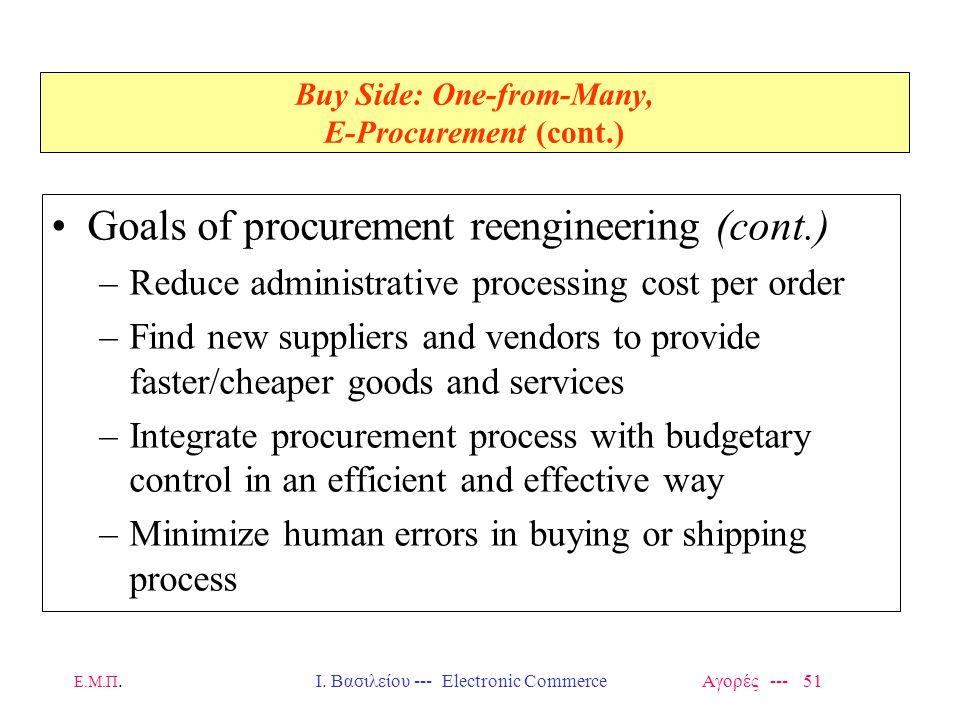 Ε.Μ.Π.Ι. Βασιλείου --- Electronic Commerce Αγορές --- 51 Buy Side: One-from-Many, E-Procurement (cont.) Goals of procurement reengineering (cont.) –Re