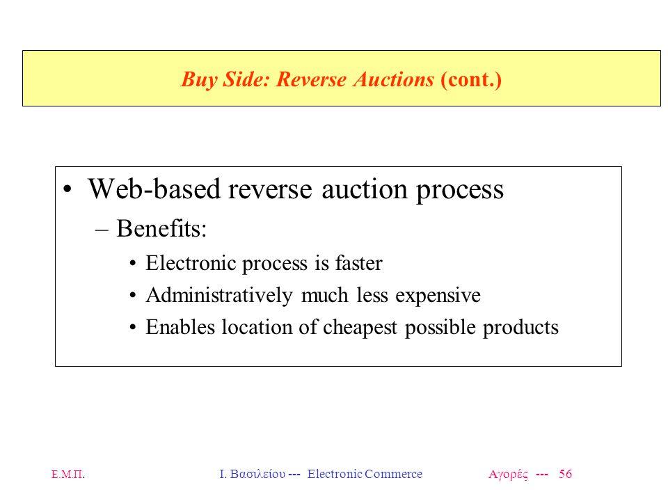 Ε.Μ.Π.Ι. Βασιλείου --- Electronic Commerce Αγορές --- 56 Buy Side: Reverse Auctions (cont.) Web-based reverse auction process –Benefits: Electronic pr