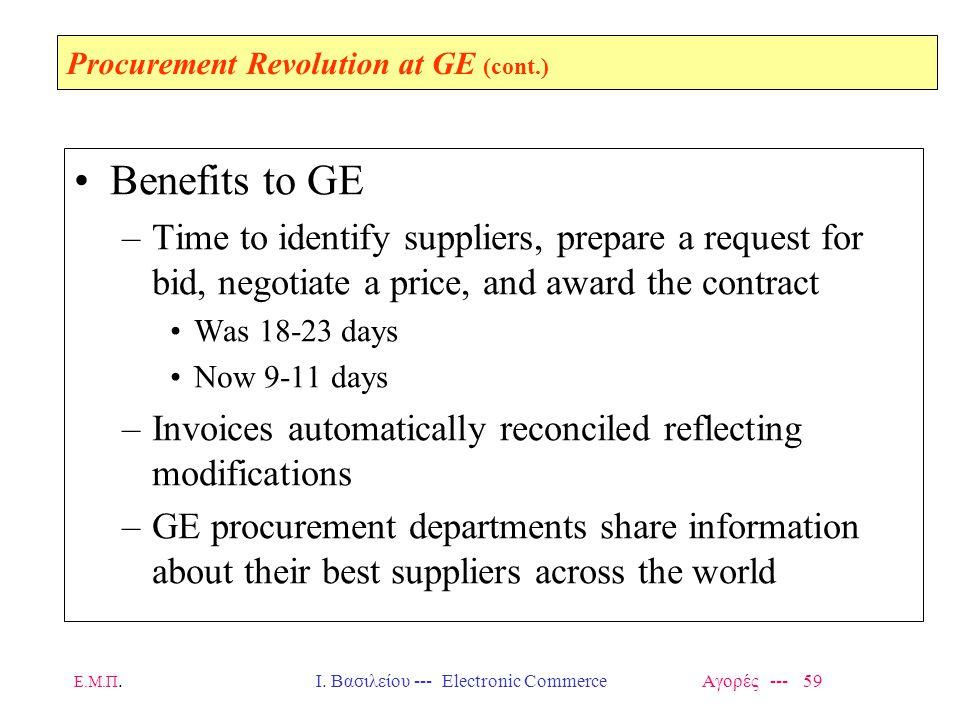 Ε.Μ.Π.Ι. Βασιλείου --- Electronic Commerce Αγορές --- 59 Procurement Revolution at GE (cont.) Benefits to GE –Time to identify suppliers, prepare a re