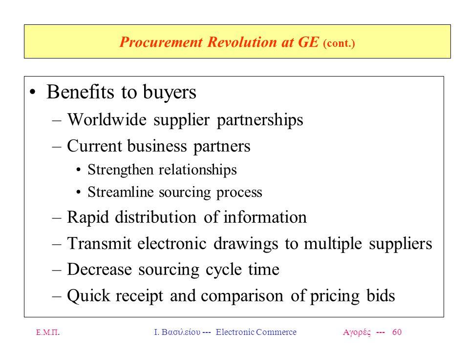 Ε.Μ.Π.Ι. Βασιλείου --- Electronic Commerce Αγορές --- 60 Procurement Revolution at GE (cont.) Benefits to buyers –Worldwide supplier partnerships –Cur