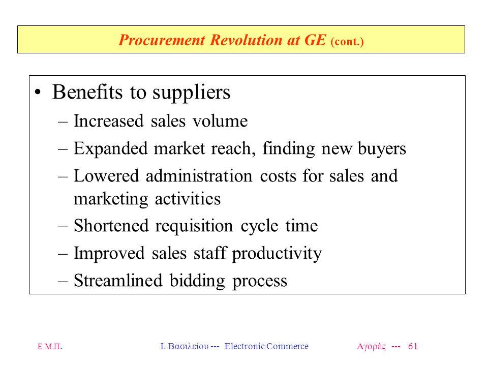 Ε.Μ.Π.Ι. Βασιλείου --- Electronic Commerce Αγορές --- 61 Procurement Revolution at GE (cont.) Benefits to suppliers –Increased sales volume –Expanded