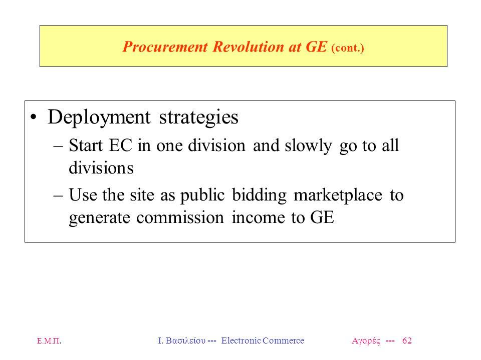 Ε.Μ.Π.Ι. Βασιλείου --- Electronic Commerce Αγορές --- 62 Procurement Revolution at GE (cont.) Deployment strategies –Start EC in one division and slow