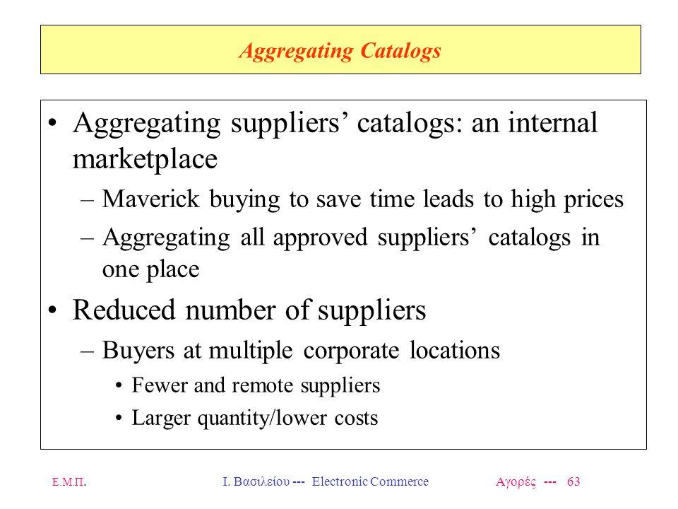 Ε.Μ.Π.Ι. Βασιλείου --- Electronic Commerce Αγορές --- 63 Aggregating Catalogs Aggregating suppliers' catalogs: an internal marketplace –Maverick buyin