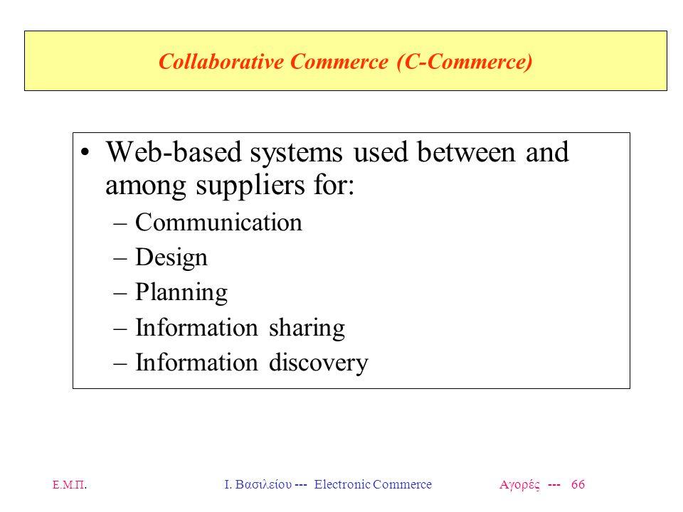 Ε.Μ.Π.Ι. Βασιλείου --- Electronic Commerce Αγορές --- 66 Collaborative Commerce (C-Commerce) Web-based systems used between and among suppliers for: –