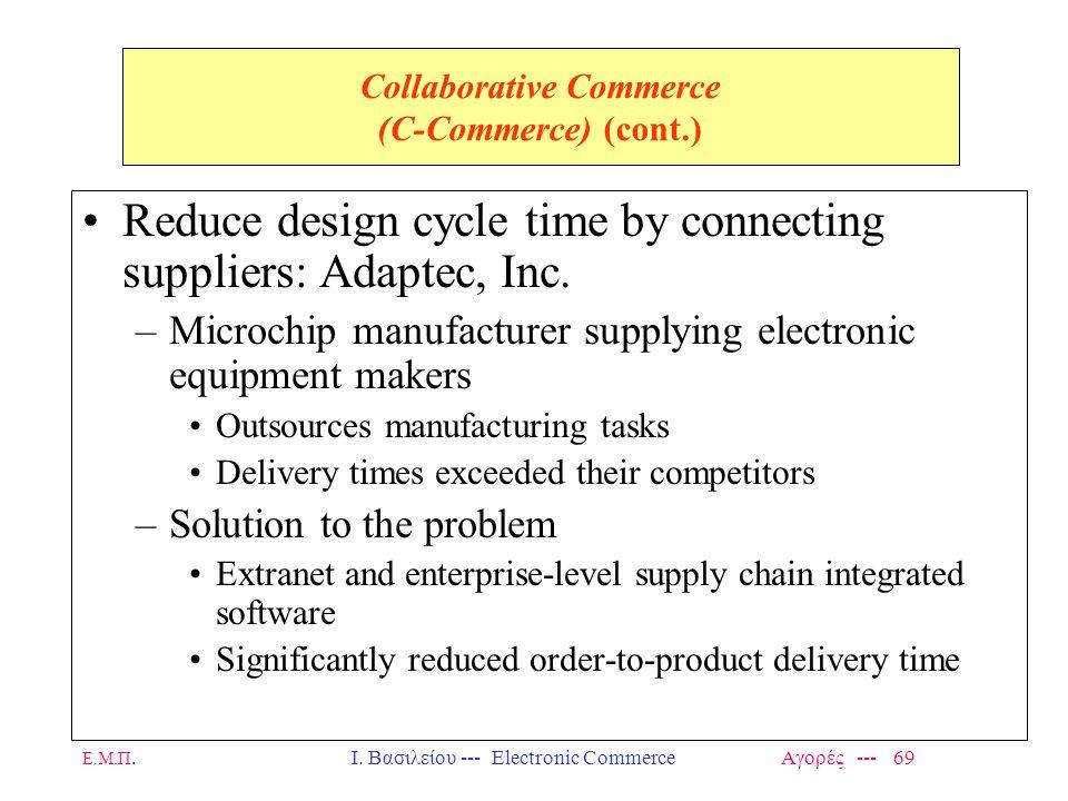 Ε.Μ.Π.Ι. Βασιλείου --- Electronic Commerce Αγορές --- 69 Collaborative Commerce (C-Commerce) (cont.) Reduce design cycle time by connecting suppliers: