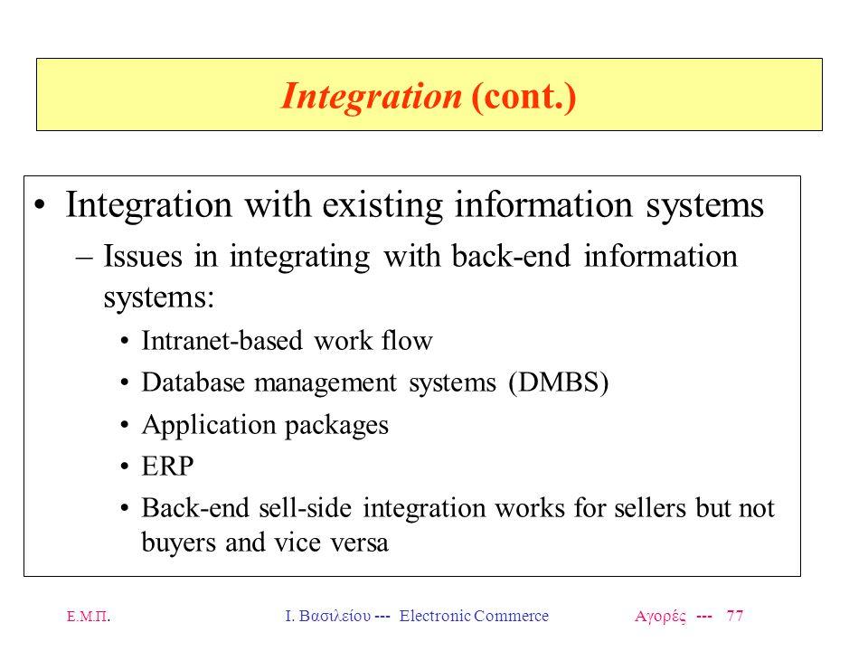 Ε.Μ.Π.Ι. Βασιλείου --- Electronic Commerce Αγορές --- 77 Integration (cont.) Integration with existing information systems –Issues in integrating with