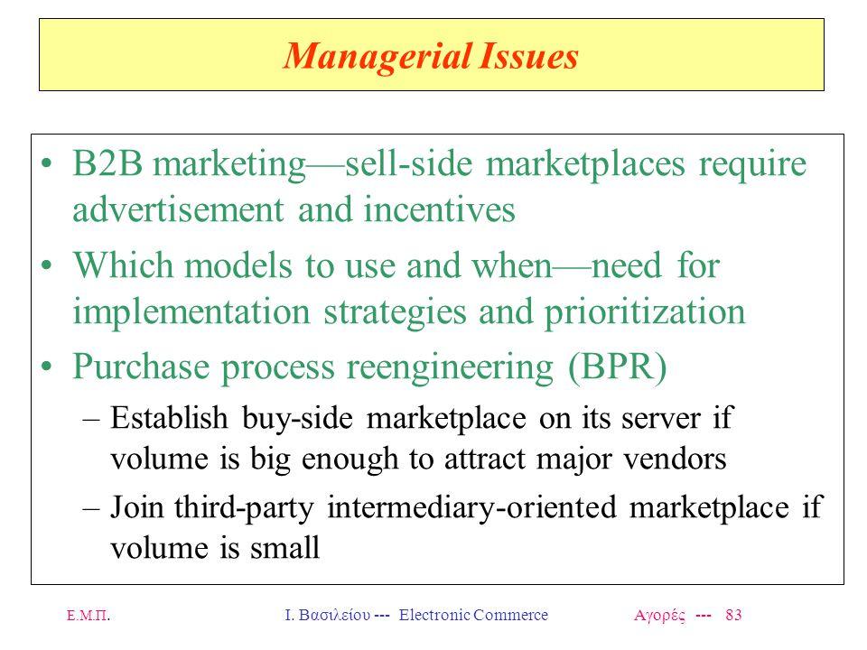 Ε.Μ.Π.Ι. Βασιλείου --- Electronic Commerce Αγορές --- 83 Managerial Issues B2B marketing—sell-side marketplaces require advertisement and incentives W
