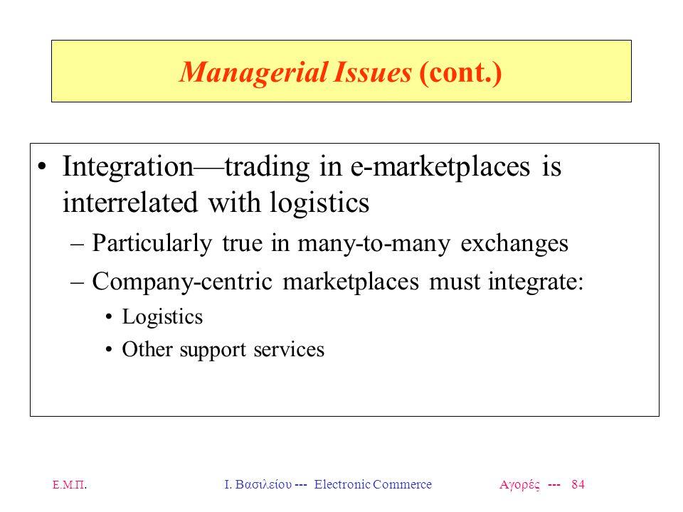 Ε.Μ.Π.Ι. Βασιλείου --- Electronic Commerce Αγορές --- 84 Managerial Issues (cont.) Integration—trading in e-marketplaces is interrelated with logistic
