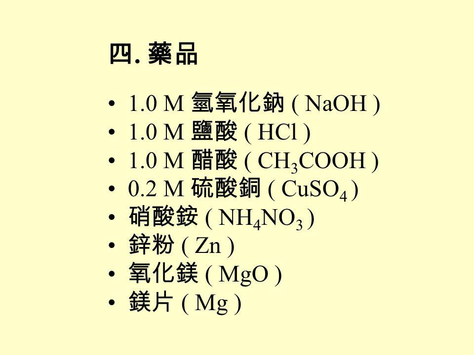 四. 藥品 1.0 M 氫氧化鈉 ( NaOH ) 1.0 M 鹽酸 ( HCl ) 1.0 M 醋酸 ( CH 3 COOH ) 0.2 M 硫酸銅 ( CuSO 4 ) 硝酸銨 ( NH 4 NO 3 ) 鋅粉 ( Zn ) 氧化鎂 ( MgO ) 鎂片 ( Mg )