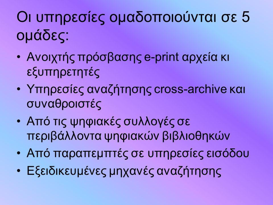 Οι υπηρεσίες ομαδοποιούνται σε 5 ομάδες: Ανοιχτής πρόσβασης e-print αρχεία κι εξυπηρετητές Υπηρεσίες αναζήτησης cross-archive και συναθροιστές Από τις ψηφιακές συλλογές σε περιβάλλοντα ψηφιακών βιβλιοθηκών Από παραπεμπτές σε υπηρεσίες εισόδου Εξειδικευμένες μηχανές αναζήτησης