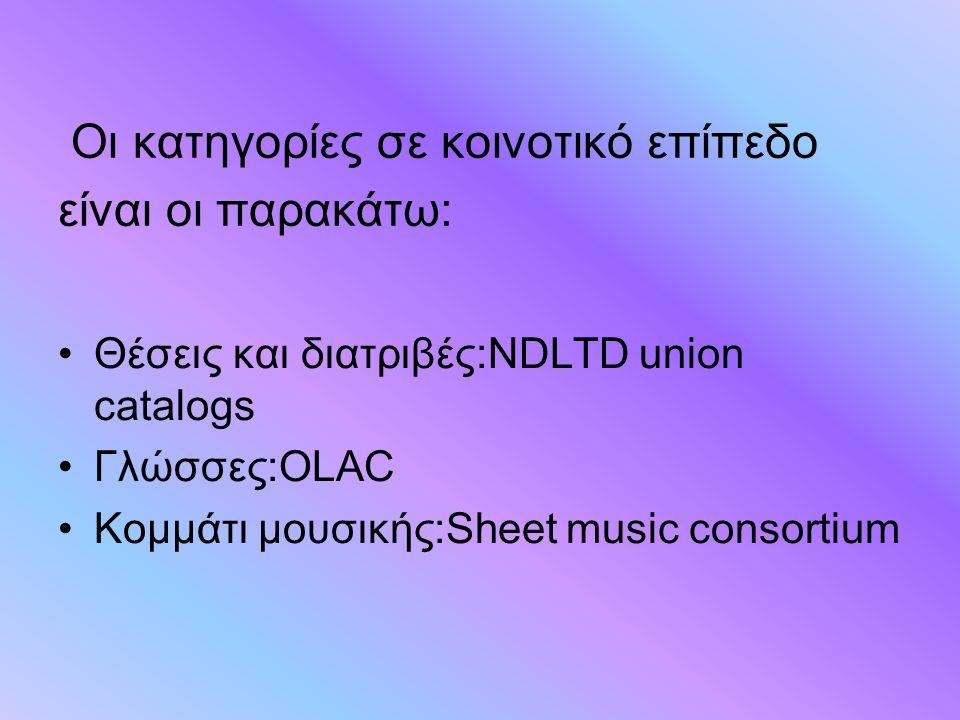 Οι κατηγορίες σε κοινοτικό επίπεδο είναι οι παρακάτω: Θέσεις και διατριβές:NDLTD union catalogs Γλώσσες:OLAC Κομμάτι μουσικής:Sheet music consortium