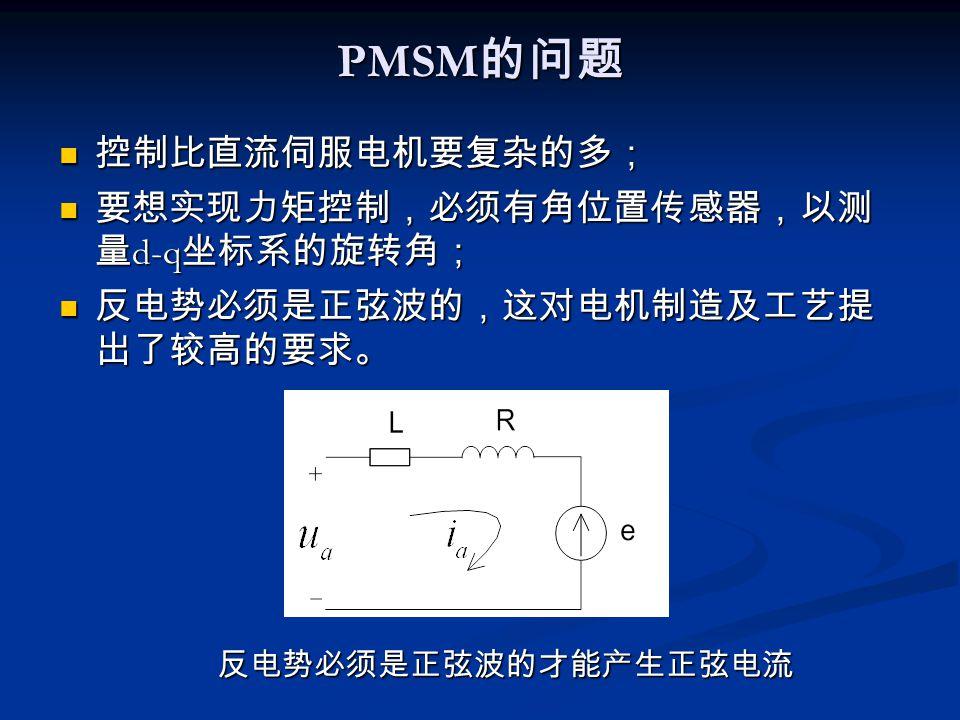 PMSM 的问题 控制比直流伺服电机要复杂的多; 控制比直流伺服电机要复杂的多; 要想实现力矩控制,必须有角位置传感器,以测 量 d-q 坐标系的旋转角; 要想实现力矩控制,必须有角位置传感器,以测 量 d-q 坐标系的旋转角; 反电势必须是正弦波的,这对电机制造及工艺提 出了较高的要求。 反电势必须是正弦波的,这对电机制造及工艺提 出了较高的要求。 反电势必须是正弦波的才能产生正弦电流