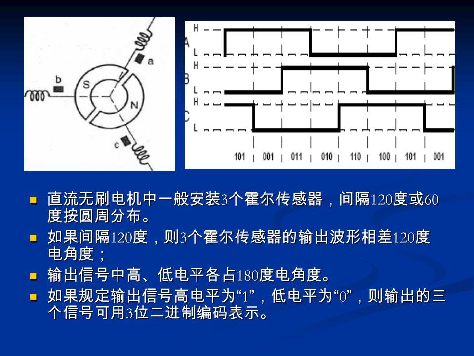 直流无刷电机中一般安装 3 个霍尔传感器,间隔 120 度或 60 度按圆周分布。 如果间隔 120 度,则 3 个霍尔传感器的输出波形相差 120 度 电角度; 输出信号中高、低电平各占 180 度电角度。 如果规定输出信号高电平为 1 ,低电平为 0 ,则输出的三 个信号可用 3 位二进制编码表示。