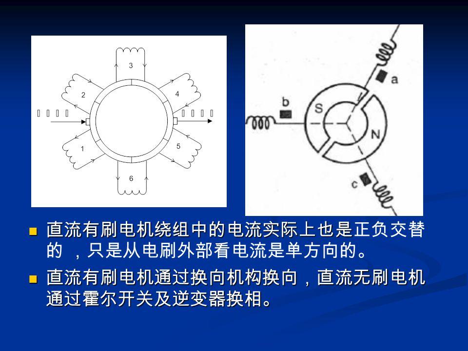 直流有刷电机绕组中的电流实际上也是正负交替 的 ,只是从电刷外部看电流是单方向的。 直流有刷电机通过换向机构换向,直流无刷电机 通过霍尔开关及逆变器换相。
