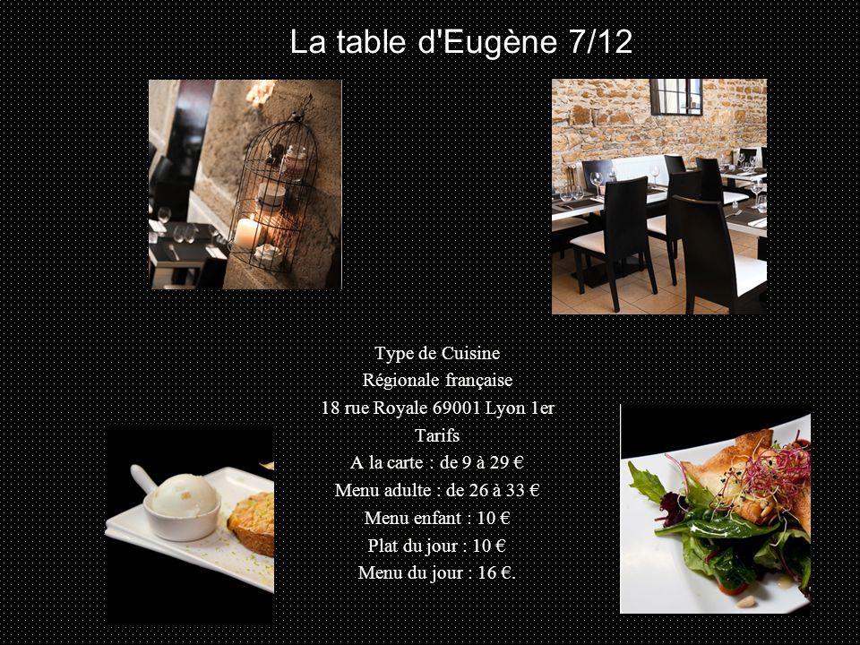 Type de Cuisine Régionale française 18 rue Royale 69001 Lyon 1er Tarifs A la carte : de 9 à 29 € Menu adulte : de 26 à 33 € Menu enfant : 10 € Plat du jour : 10 € Menu du jour : 16 €.