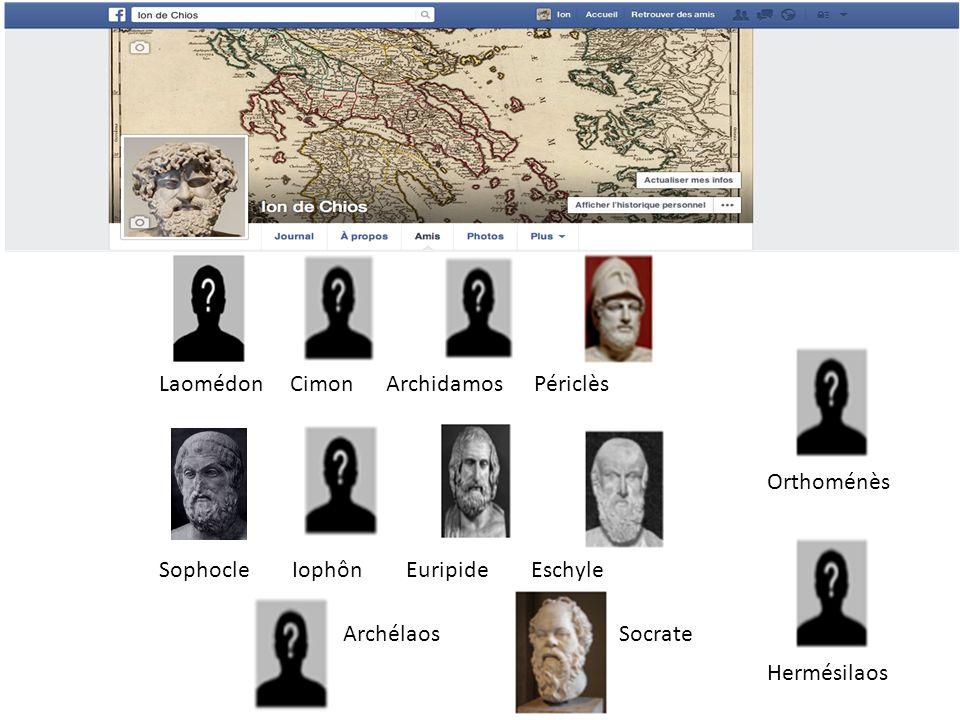 Sophocle Iophôn Euripide Eschyle Laomédon Cimon Archidamos Périclès ArchélaosSocrate Orthoménès Hermésilaos