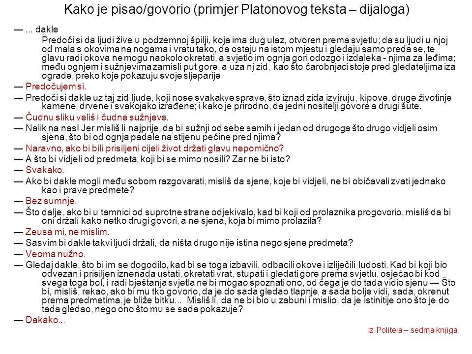 Kako je pisao/govorio (primjer Platonovog teksta – dijaloga) —... dakle Predoči si da ljudi žive u podzemnoj špilji, koja ima dug ulaz, otvoren prema