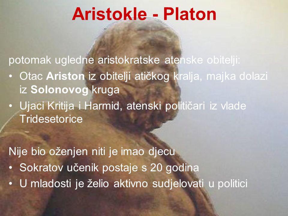 Aristokle - Platon potomak ugledne aristokratske atenske obitelji: Otac Ariston iz obitelji atičkog kralja, majka dolazi iz Solonovog kruga Ujaci Krit