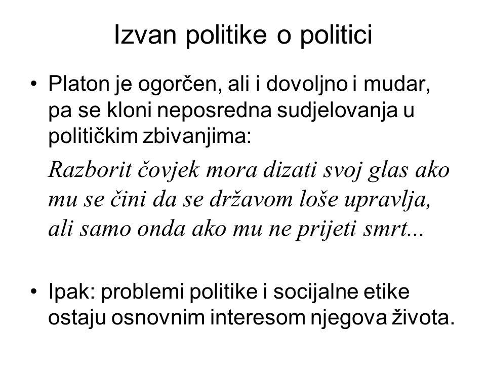 Izvan politike o politici Platon je ogorčen, ali i dovoljno i mudar, pa se kloni neposredna sudjelovanja u političkim zbivanjima: Razborit čovjek mora