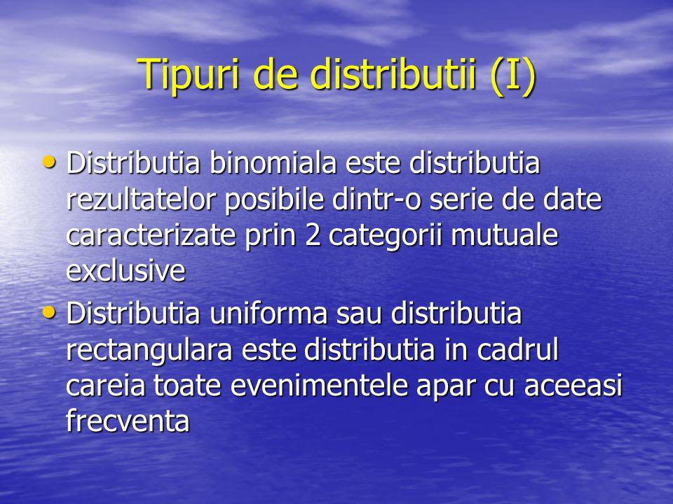 Tipuri de distributii (I) Distributia binomiala este distributia rezultatelor posibile dintr-o serie de date caracterizate prin 2 categorii mutuale ex