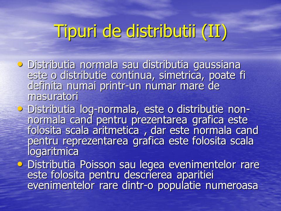 Tipuri de distributii (II) Distributia normala sau distributia gaussiana este o distributie continua, simetrica, poate fi definita numai printr-un num