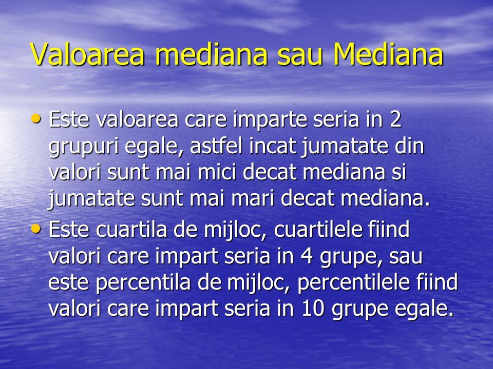 Valoarea mediana sau Mediana Este valoarea care imparte seria in 2 grupuri egale, astfel incat jumatate din valori sunt mai mici decat mediana si juma