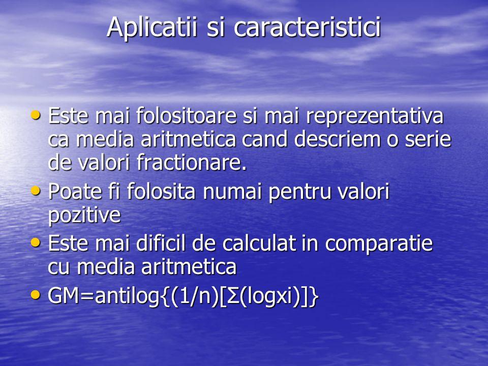 Aplicatii si caracteristici Este mai folositoare si mai reprezentativa ca media aritmetica cand descriem o serie de valori fractionare. Este mai folos