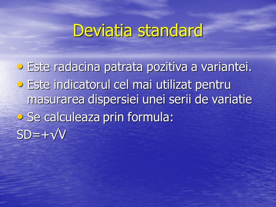 Deviatia standard Este radacina patrata pozitiva a variantei. Este radacina patrata pozitiva a variantei. Este indicatorul cel mai utilizat pentru mas