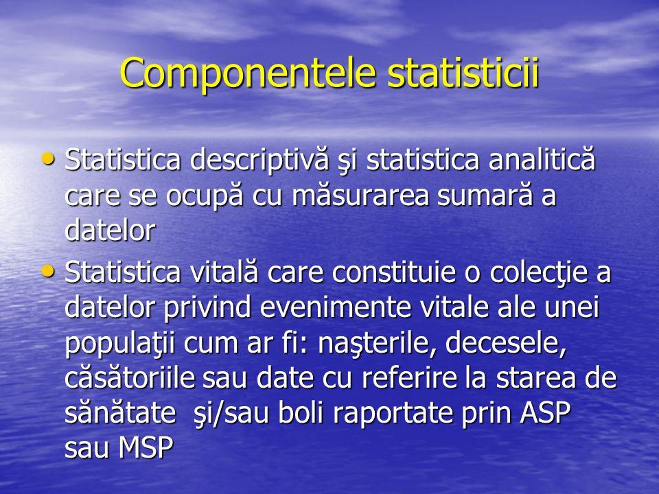 Componentele statisticii Statistica descriptivă şi statistica analitică care se ocupă cu măsurarea sumară a datelor Statistica descriptivă şi statisti